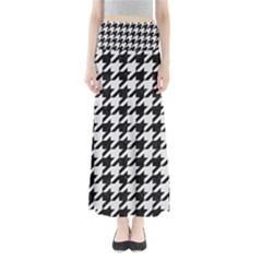 Houndstooth1 Black Marble & White Linen Full Length Maxi Skirt