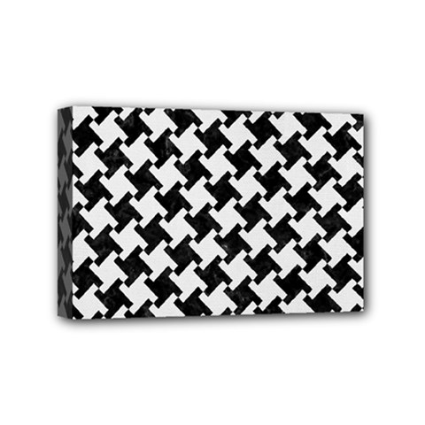 Houndstooth2 Black Marble & White Linen Mini Canvas 6  X 4