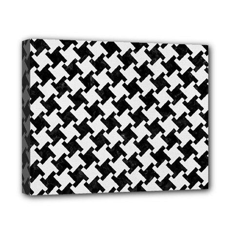 Houndstooth2 Black Marble & White Linen Canvas 10  X 8