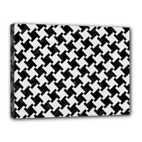 Houndstooth2 Black Marble & White Linen Canvas 16  X 12