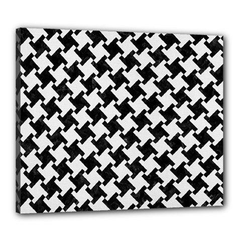 Houndstooth2 Black Marble & White Linen Canvas 24  X 20