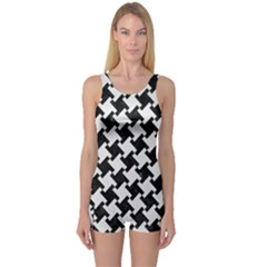 Houndstooth2 Black Marble & White Linen One Piece Boyleg Swimsuit