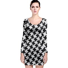 Houndstooth2 Black Marble & White Linen Long Sleeve Bodycon Dress