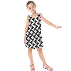 Houndstooth2 Black Marble & White Linen Kids  Sleeveless Dress