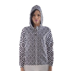Hexagon1 Black Marble & White Linen Hooded Wind Breaker (women)