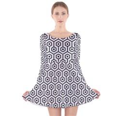 Hexagon1 Black Marble & White Linen Long Sleeve Velvet Skater Dress