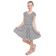 Hexagon1 Black Marble & White Linen Kids  Short Sleeve Dress