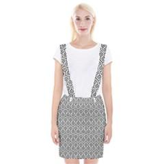 Hexagon1 Black Marble & White Linen Braces Suspender Skirt