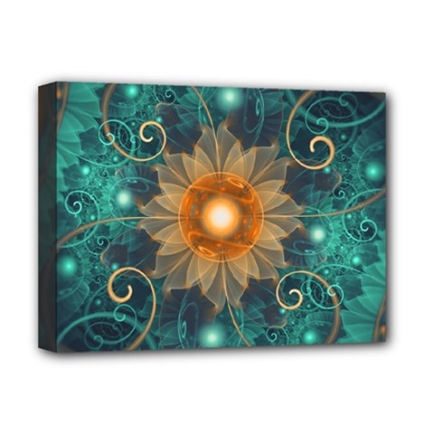 Beautiful Tangerine Orange And Teal Lotus Fractals Deluxe Canvas 16  X 12