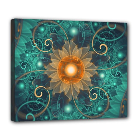 Beautiful Tangerine Orange And Teal Lotus Fractals Deluxe Canvas 24  X 20