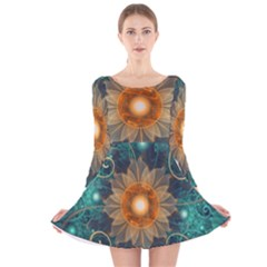 Beautiful Tangerine Orange And Teal Lotus Fractals Long Sleeve Velvet Skater Dress