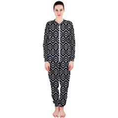 Hexagon1 Black Marble & White Linen (r) Onepiece Jumpsuit (ladies)
