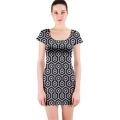 Hexagon1 Black Marble & White Linen (r) Short Sleeve Bodycon Dress