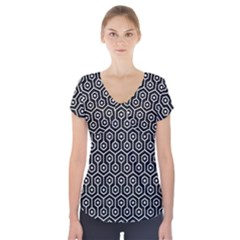 Hexagon1 Black Marble & White Linen (r) Short Sleeve Front Detail Top