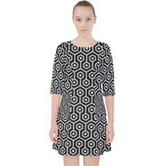 Hexagon1 Black Marble & White Linen (r) Pocket Dress