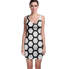 Hexagon2 Black Marble & White Linen Bodycon Dress