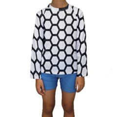 Hexagon2 Black Marble & White Linen Kids  Long Sleeve Swimwear