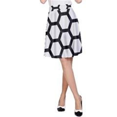 Hexagon2 Black Marble & White Linen A Line Skirt