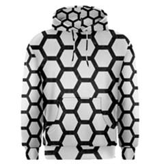 Hexagon2 Black Marble & White Linen Men s Pullover Hoodie