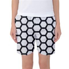 Hexagon2 Black Marble & White Linen Women s Basketball Shorts