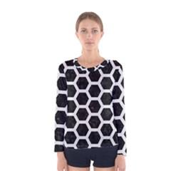 Hexagon2 Black Marble & White Linen (r) Women s Long Sleeve Tee