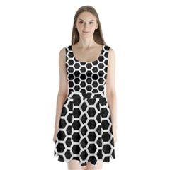 Hexagon2 Black Marble & White Linen (r) Split Back Mini Dress