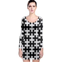 Puzzle1 Black Marble & White Linen Long Sleeve Bodycon Dress