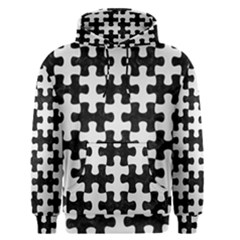Puzzle1 Black Marble & White Linen Men s Pullover Hoodie