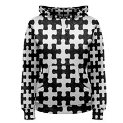 Puzzle1 Black Marble & White Linen Women s Pullover Hoodie