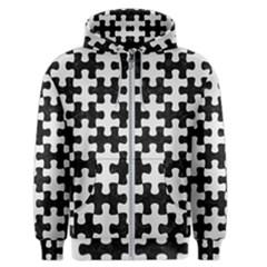 Puzzle1 Black Marble & White Linen Men s Zipper Hoodie