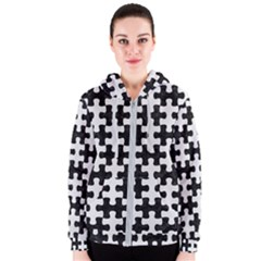 Puzzle1 Black Marble & White Linen Women s Zipper Hoodie
