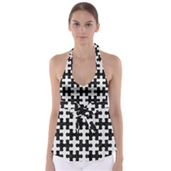 Puzzle1 Black Marble & White Linen Babydoll Tankini Top