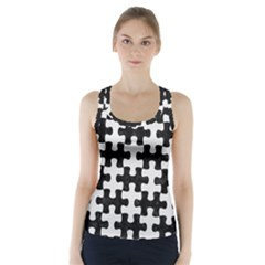Puzzle1 Black Marble & White Linen Racer Back Sports Top