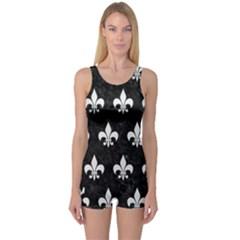 Royal1 Black Marble & White Linen One Piece Boyleg Swimsuit