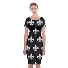 Royal1 Black Marble & White Linen Classic Short Sleeve Midi Dress
