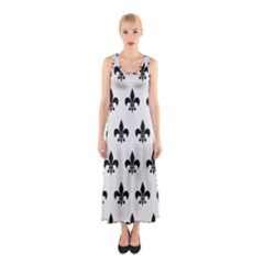 Royal1 Black Marble & White Linen (r) Sleeveless Maxi Dress