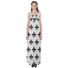 Royal1 Black Marble & White Linen (r) Empire Waist Maxi Dress