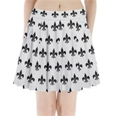 Royal1 Black Marble & White Linen (r) Pleated Mini Skirt