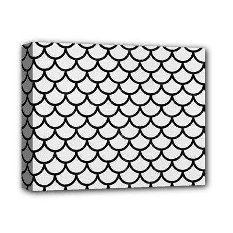 Scales1 Black Marble & White Linen Deluxe Canvas 14  X 11