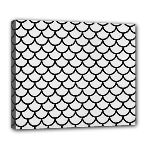 Scales1 Black Marble & White Linen Deluxe Canvas 24  X 20