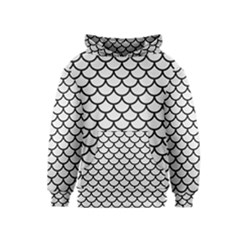 Scales1 Black Marble & White Linen Kids  Pullover Hoodie
