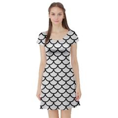 Scales1 Black Marble & White Linen Short Sleeve Skater Dress