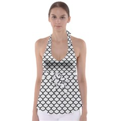 Scales1 Black Marble & White Linen Babydoll Tankini Top