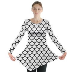 Scales1 Black Marble & White Linen Long Sleeve Tunic