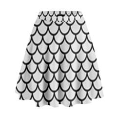 Scales1 Black Marble & White Linen High Waist Skirt