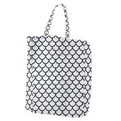 Scales1 Black Marble & White Linen Giant Grocery Zipper Tote