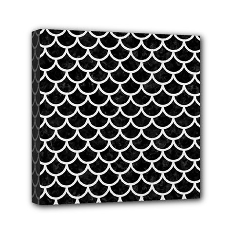 Scales1 Black Marble & White Linen (r) Mini Canvas 6  X 6