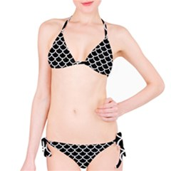 Scales1 Black Marble & White Linen (r) Bikini Set