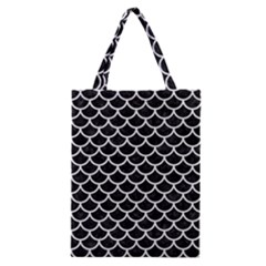 Scales1 Black Marble & White Linen (r) Classic Tote Bag