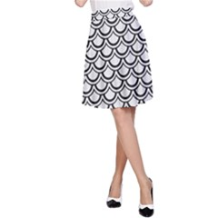 Scales2 Black Marble & White Linen A Line Skirt